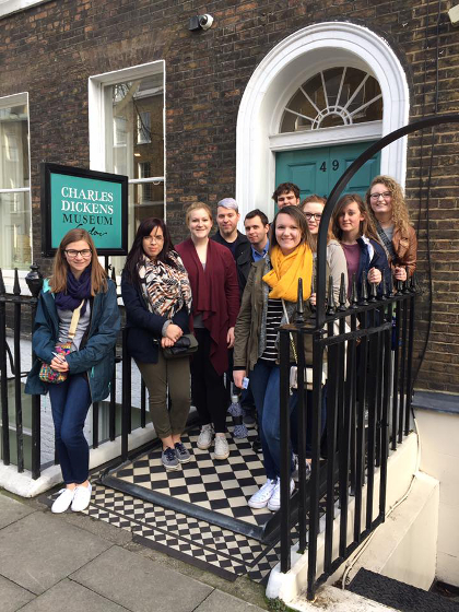 Students traveling as part of TU's Literature Abroad course visit the Charles Dickens Museum in London.