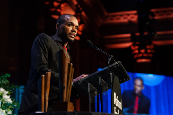 Justin Phillip Reed accepts the National Book Award for Poetry. Credit: Bryan Thomas for The New York Times