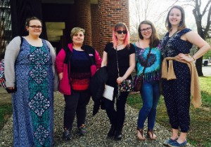 Attendees of the 56th Annual Lex Allen Literary Festival at Hollins University (from left to right): Emily Waryck (finalist), Emily Watson, Sarah Holly (finalist), Jennie Frost (finalist), & Macy French (runner-up winner).